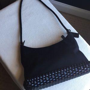 Etienne Aigner Black canvas bag with woven trim